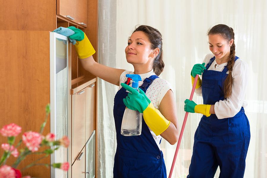ladies cleans the room