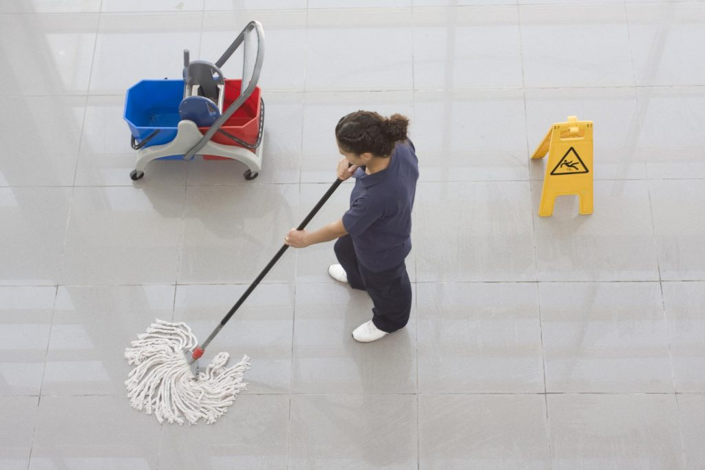lady cleaning the floor