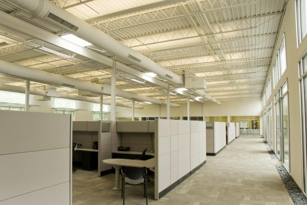 cubicles in the office