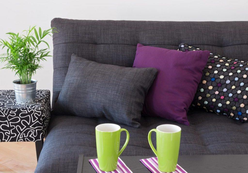 pillows on the sofas